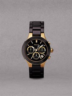 DKNY black and gold watch