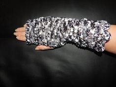 Stunning Ribbon Lace fingerless gloves, a wonderful black and white colour. Lace Ribbon, Black And White Colour, Fingerless Gloves, Arm Warmers, Hand Knitting, Fashion Outfits, Handmade, Accessories, Color