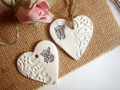 10 Clay Hearts MonogramWedding  Favor TagsWedding by accessory8, $12.00