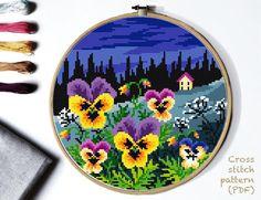 Cross Stitch Hoop, Cross Stitch Flowers, Modern Cross Stitch Patterns, Cross Stitch Designs, Embroidery Hoop Art, Cross Stitching, Etsy, Nature Pattern, Pattern Designs