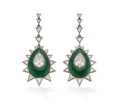 Cool vintage inspired jade green drop earrings with diamond details