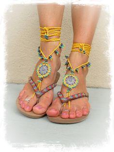 Yellow BAREFOOT SANDALS Mandala Yellow Black Wedding door GPyoga