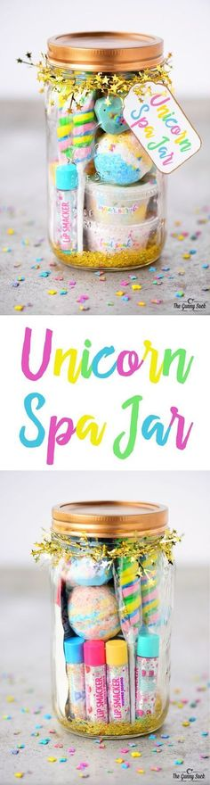 This Unicorn Spa Jar is for the girly girls is your life who love all things sparkly and colorful. They can use the fun gift in a jar to have a spa day. These mason jars would be perfect for a girls birthday party or give as a Christmas gift. - Crafts For Party Unicorn, Unicorn Birthday Parties, Girl Birthday, Birthday Gifts, Birthday Ideas, Birthday Diy, Christmas Birthday, 10th Birthday, Birthday Quotes