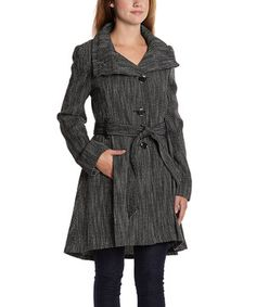 Another great find on #zulily! Steve Madden Black & White Tweed Drama Coat by Steve Madden #zulilyfinds