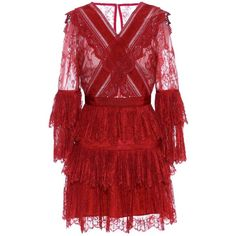 Self-Portrait Lace Minidress (€400) ❤ liked on Polyvore featuring dresses, red, vestidos, short lace dress, red lace dresses, red dresses, mini dress and short dresses