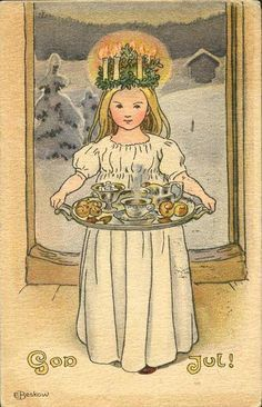 St Lucia's Day, a Swedish Christmas tradition, illustration by Elsa Beskow Swedish Christmas Food, Noel Christmas, Scandinavian Christmas, Vintage Christmas Cards, Christmas Pictures, Christmas Greetings, Elsa Beskow, Illustration Noel, Christmas Illustration