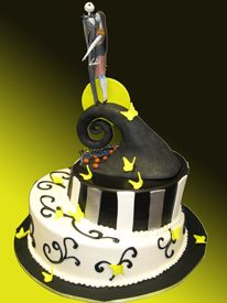 Custom Birthday Cake. Custom Nightmare Before Christmas themed cake. Features Jack and Sally on the cake.  Palermo's Bakery creates custom cakes, wedding cakes, birthday cakes, graduation cakes, cake pops, cupcakes, cookies, custom dessert tables and serves the New Jersey/New York Area