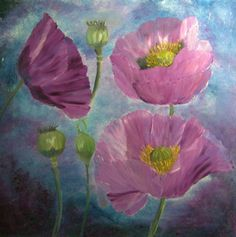purple poppies on canvas original painting by Blumenmalerei, €40.00