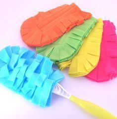"""Washable """"Swiffer"""" dusters!    Follow these directions using FLEECE or MICROFIBER - seems to work best -  (found in the auto section of some stores) to make your own."""