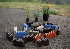 How do thise Lego-like blocks work in the garden? TogetherFarms colorful interlocking blocks are for creating raised bed Making Raised Beds, Raised Garden Beds, Garden Blocks, Stellar Works, Outdoor Planters, Outdoor Decor, Garden Projects, Garden Tips, Make It Simple
