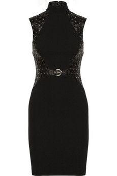 Versace Studded leather-paneled stretch-crepe dress | NET-A-PORTER