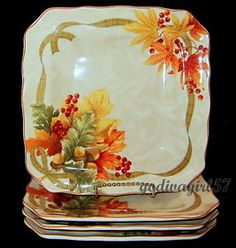 222-Fifth-Autumn-Celebration-4-SALAD-PLATES-Thanksgiving-Fall-Leaves-NEW