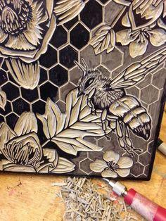 Honey bee flower botanical bee pollinator linocut stamp print printmaking garden beekeeper nature forest home decor original art handmade Linocut Prints, Art Prints, Block Prints, Stamp Carving, Linoprint, Decoration Originale, Bee Art, Art Original, Sgraffito