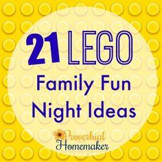 21 Lego Family Fun Night Ideas - http://www.proverbialhomemaker.com/lego-family-fun-night.html
