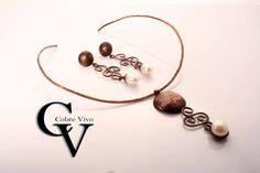 Conjunto de cobre envejecido con perlas #joyasdecobre trabajadas a mano por Cobre Vivo