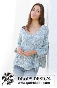 Knitted jumper in 2 strands DROPS Alpaca Bouclé. Summer Knitting, Easy Knitting, Knitting Patterns Free, Knit Patterns, Clothing Patterns, Free Pattern, Drops Design, Drops Alpaca, Magazine Drops