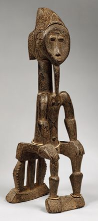 Seated Male, 19th–20th century  Côte d'Ivoire; Baule. Wood, beads.