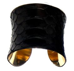Glossy Black Snakeskin Gold Lined Cuff Bracelet  by by UNEARTHED