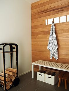 Saunan pukuhuone Spa Rooms, Bathroom Toilets, Wood Paneling, Entryway Bench, My House, Tiles, New Homes, Flooring, Storage