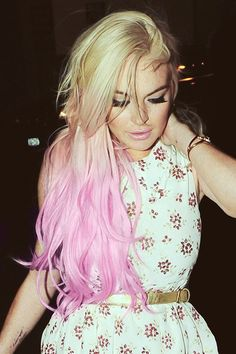 Lindsay Lohan blonde to light pink ombre hair...LETS JUST PRETEND IT IS NOT LINDSAY.....JUST SAYING...