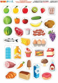 Preschool Learning Activities, Color Activities, Fruit Icons, Barbie Paper Dolls, Food Stickers, Food Charts, Paper Crafts, Diy Crafts, Busy Book
