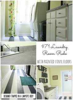 Pin now, read later.  You have to see it to believe it!  $71 Laundry Room Renovation with Painted Linoleum Floors {www.designertrapped.com}