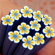 Polymer Clay Sticks - Fimo Cane - Blau Blume - Nagel-Kunst CFW040 - ein Designerstück von MiniatureSweet bei DaWanda