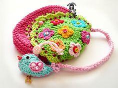 Crochet bag / purse pdf pattern Birdie purse by VendulkaM, via Etsy. Bag Crochet, Crochet Handbags, Love Crochet, Beautiful Crochet, Crochet For Kids, Crochet Crafts, Yarn Crafts, Crochet Flowers, Crochet Toys