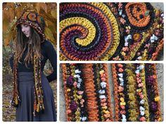 SALE Halloween Freeform Crochet Hood // Ooak Fiber Art by OfMars