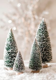 Mini Frosted Christmas Trees Decor