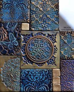 Купить Зеркало декоративное. Синяя мозаика из полимерной глины - тёмно-синий, зеркало, зеркало в раме Tile Art, Mosaic Art, Mosaic Tiles, Clay Tiles, Ceramic Pottery, Pottery Art, Ceramic Art, Teal And Copper Bedroom, Mural Wall Art