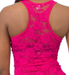 ESSENTIALS Tank Tops Pink LACE BACK TANK - Shirts and Tops - Man Alive
