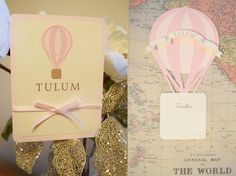 Hot Air Balloon seating cards - a unique way for your guests to locate their seat at your event. Guests names are printed in the basket of the hot