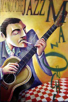 Et pourquoi pas un peu de musique ? Festival Jazz, Django Reinhardt, Jazz Guitar, Blue Guitar, Gypsy Jazz, Jazz Poster, Jazz Artists, Spanish Art, Jazz Blues