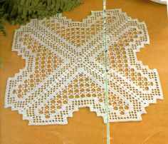 X shape doily with diagram