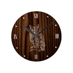 Wood Look With Owl Wall Clock