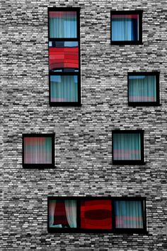 """Red on brick"" by PhotoartBK.deviantart.com on @deviantART  #red #brick #windows #house #building #art #architecture"