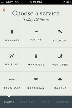 List from Beautified App › PatternTap / great clean type here, and I like how the menu selector is from the bottom. What if we incorporated this into our filter page on the business listing? It could be like a slide menu