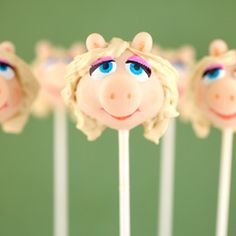 Can't have a Muppet party without Miss Piggy (cake pops)!  @Megan McCarron
