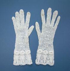 vintage lace gloves | Antique Victorian Edwardian White Crochet Irish Lace Bridal Wedding ...