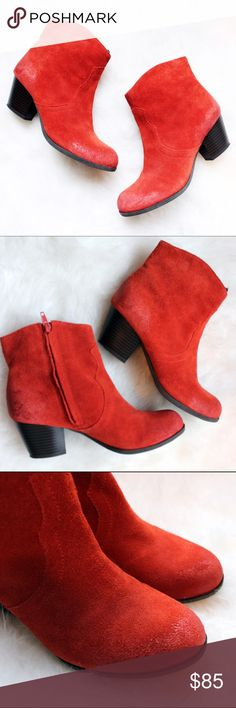 Lucky Brand • Red Suede Booties Brand new! Excellent barely worn condition. Lucky Brand Tablita bootie in red suede. Awesome boots for a statement look in all seasons.   •Heel is a little over 2 inches •Make me an offer!  ❌No trades ❌Poshmark Transactions Only ❌No asking for the lowest price Lucky Brand Shoes Ankle Boots & Booties