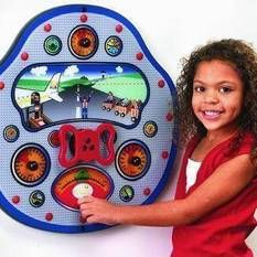 No license required to fly this plane! Children will enjoy playing with the Sky Pilot Wall Toy for hours. Encouraging imagination, children will transform themselves into the pilot of the plane. Sensory Boards, Unique Toys, Sensory Toys, Activity Centers, Learning Games, Wood Toys, Business For Kids, Pre School, Wall Mount