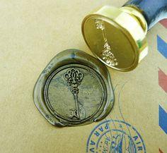 Vintage Key Wax Seal Stamp/ Gold Plated key wedding logo/ brass stamp