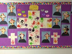 Our Lenten bulletin board - every child added a hand print to our crosses, using colours that represent Jesus and what he did for us.