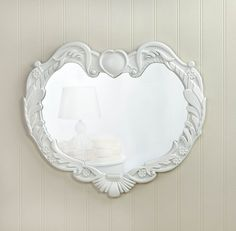 Romantic Heart White Wood Wall Mirror Country Cottage Chic Home Decor