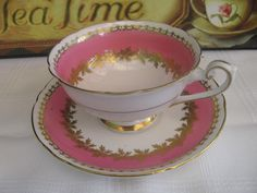 Pink AND Gold Shelley TEA CUP AND Saucer SET