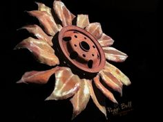 "Upcycled/recycled metal sunflower sculpture 20"" - Welded Art by Peggi Bell 