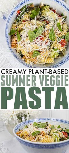 Creamy Plant-Based Summer Veggie Pasta | The Creek Line House Veggie Pasta, Pasta Salad, Plant Based, Veggies, Summer Plants, Whole Food Recipes, Vegan Recipes, Good Ole, Southern Recipes