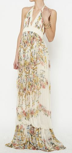 Roberto Cavalli Ivory And Multicolor Dress//
