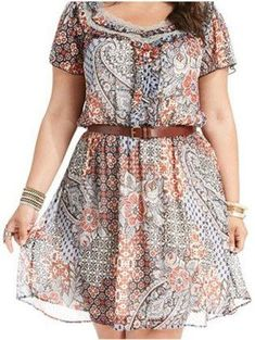 American Rag Plus Size Dress, Short-Sleeve Floral-Print A-Line - Plus Size… Curvy Girl Fashion, Plus Size Fashion, Boho Fashion, Fashion Ideas, Look Plus Size, Plus Size Women, Plus Size Summer Dresses, Plus Size Outfits, Modelos Plus Size